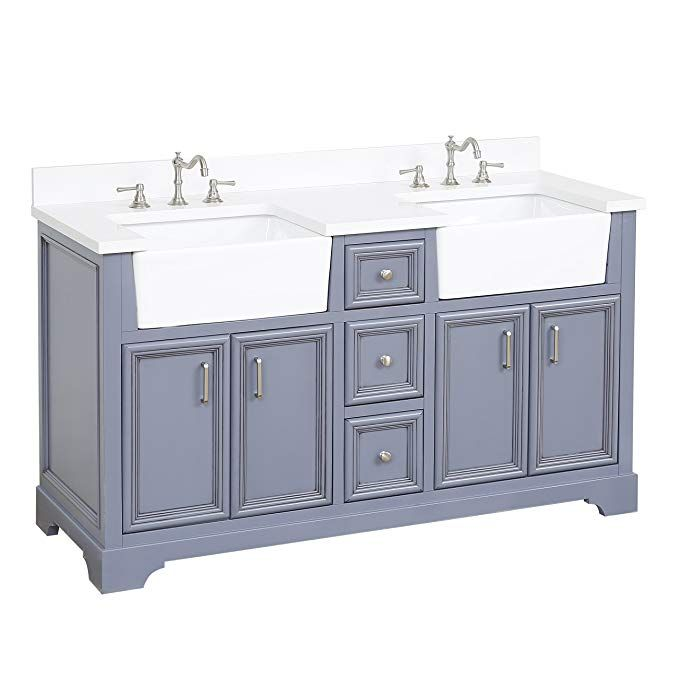 Zelda 60 Inch Double Bathroom Vanity Quartz Powder Gray