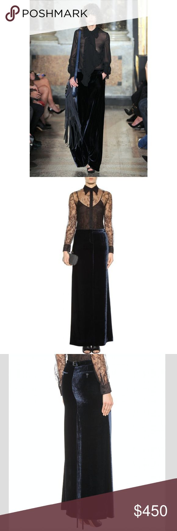 PUCCI Velvet Maxi Skirt - RUNWAY!  NWT! This stunning maxi skirt was premiered at Emilio Pucci's Fall '15 runway show. Crafted in Italy from plush velvet, it comes in a regal midnight blue hue with handy back pockets and a buckled tab.  Super long/(high) back slit Style with a sultry blouse and killer heels for a standout evening look.  Zipper fly, hook fastening.  Side pockets, rear buttoned pockets.  80% viscose, 20% silk.  Dry clean.  Made in Italy.   Size 40 (like 6/8 US) Measurements…