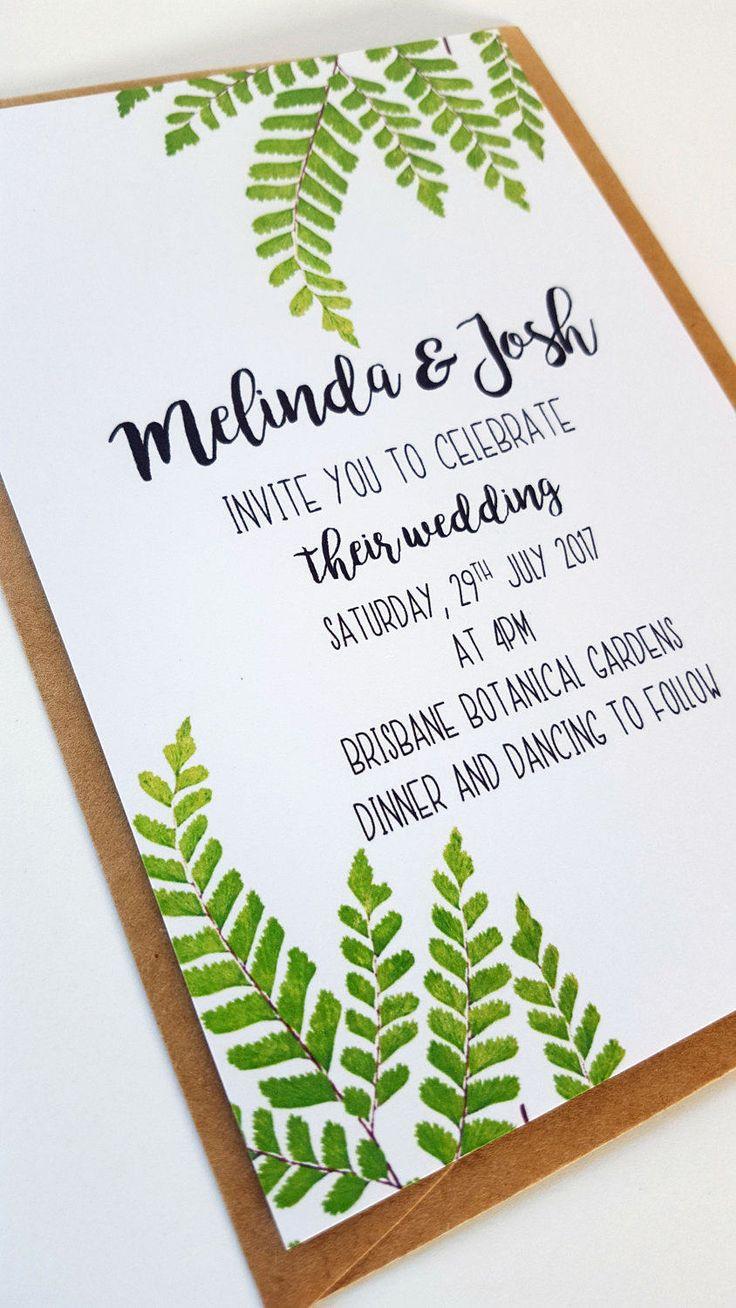 Fern Wedding Invitation/ Botanical Wedding Invitation
