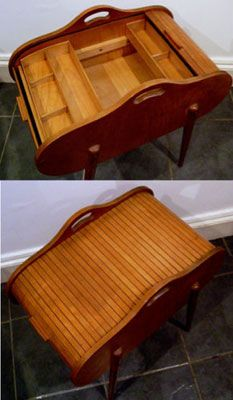 Mid-century style roll top sewing box... my mom had one something like this.