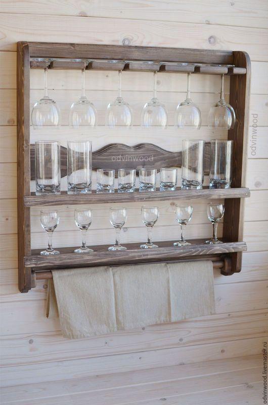 деревянная полка для бокалов чашек посуды тарелок, полка из дерева для бокалов чашек посуды тарелок, полка винная из дерева, полка из дерева для вина и бокалов, полка для кухни из дерева, сервант