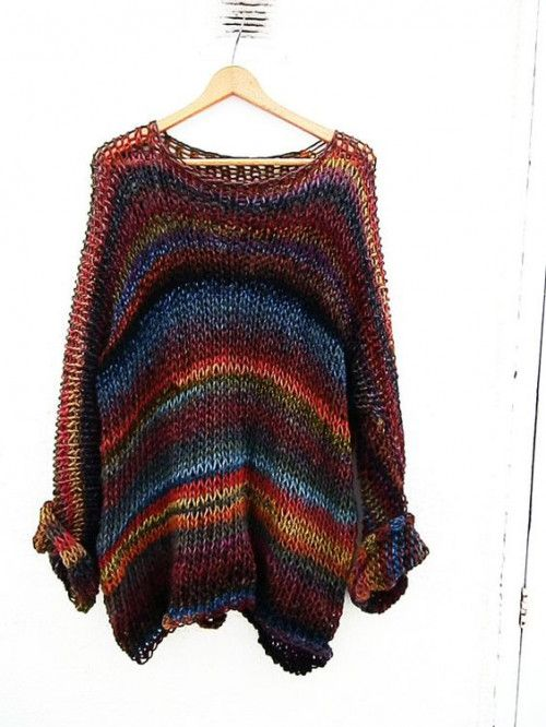 Multicolor loose knit sweater, knit oversize sweater