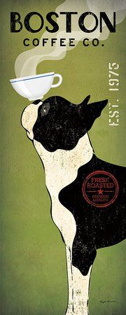 Boston Terrier Coffee Co Panel Ryan Fowler Vintage Ads Dogs Pets Print Poster 8x20