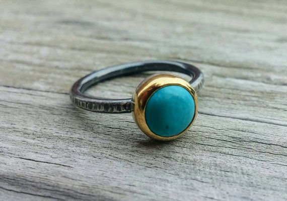 Turquoise Mixed Metal Gemstone Ring in by LolaJewelleryDesign