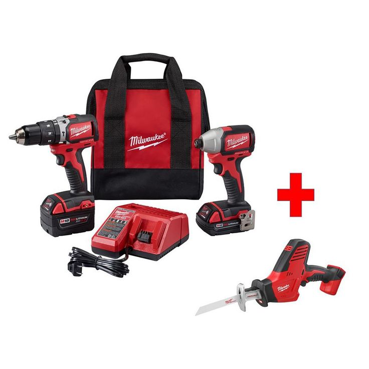 Milwaukee M18 18-Volt Lithium-Ion Cordless Compact Brushless Hammer Drill/Impact Combo Kit (2-Tool) with Free M18 Hackzall