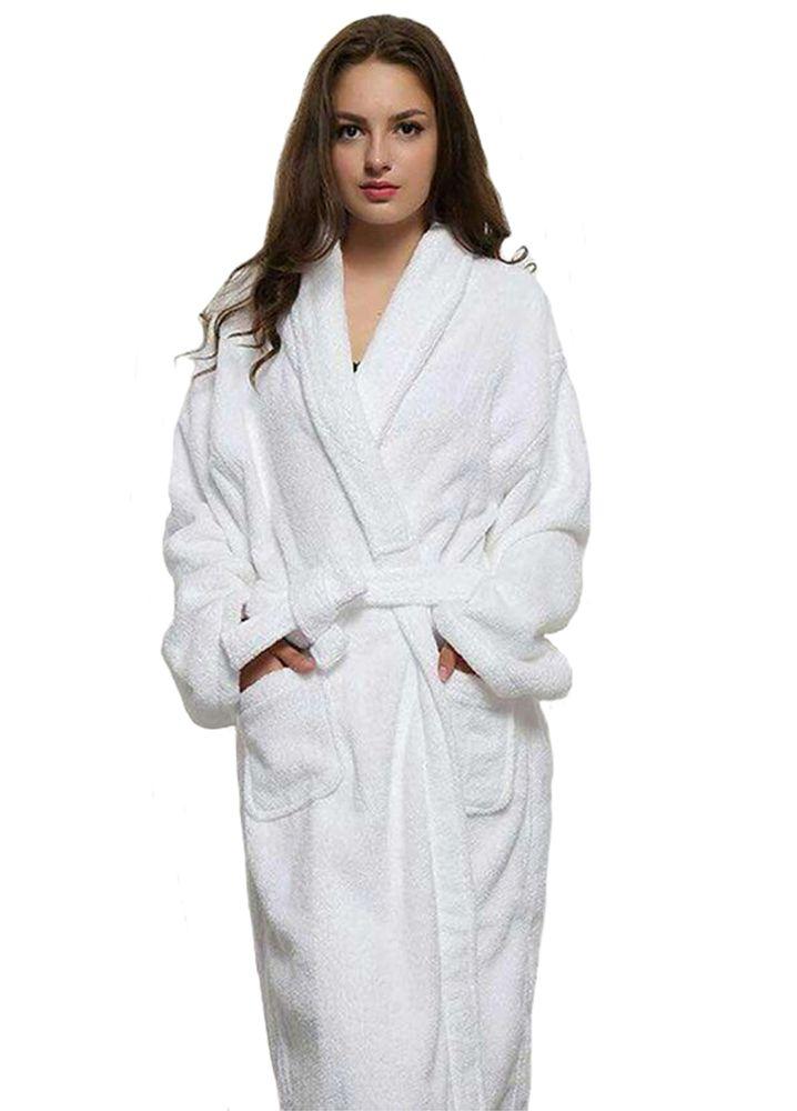 Long Unisex Winter Warm White Robe | Fashideas.com