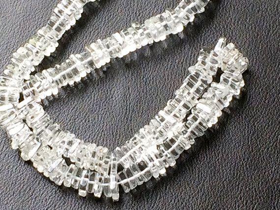 Crystal Quartz Heishi Beads Crystal Quartz Beads by gemsforjewels