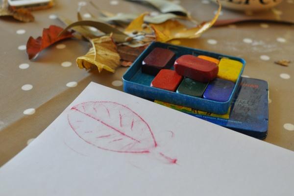 leaf rubbings - toddler Autumn activity
