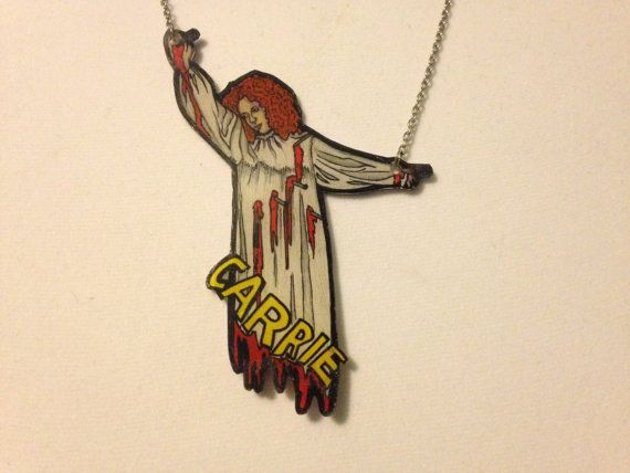 Horror ~ Carrie Necklace ~ Stephen King ~ Brian De Palma ~ Shrink Plastic ~ Awesome!