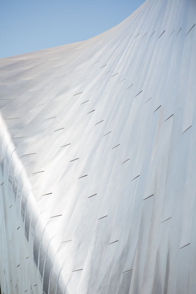 Stainless steel roof cladding on the new BAMPFA. Photo: Daniel McPartlan