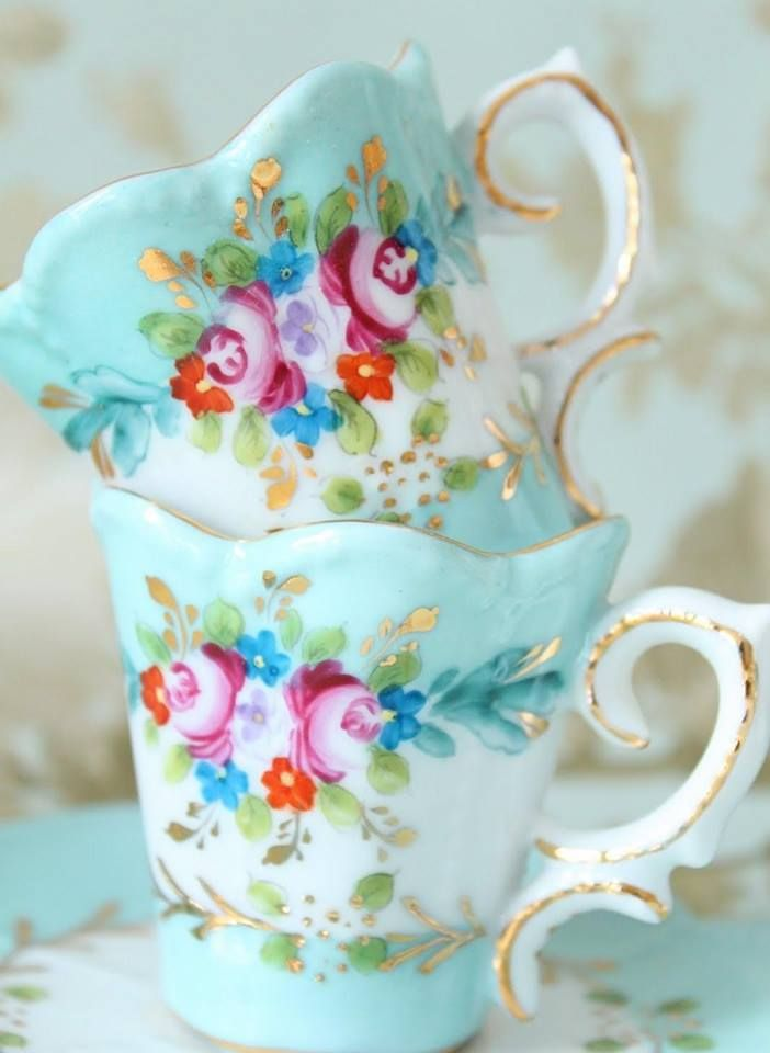 Is it just me or are these antique tea cups these most colorful, adorable things ever?  Who needs new when old is this cute?