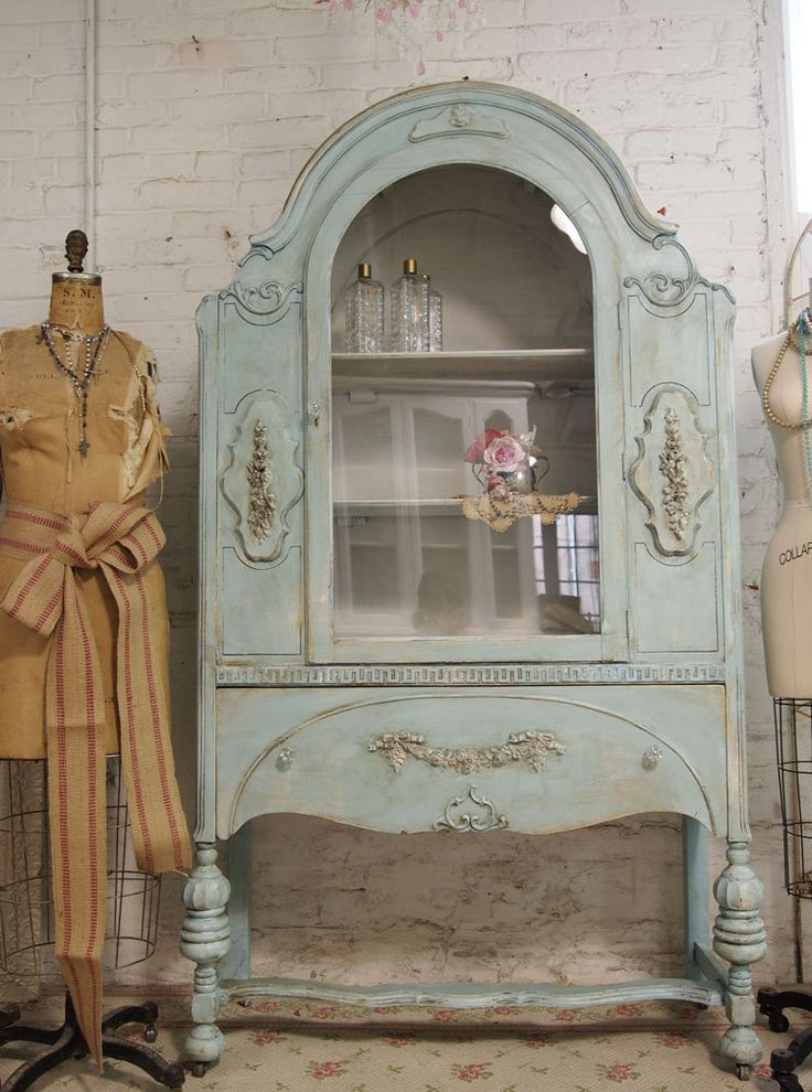 Etsy Transaction - Vintage Painted Cottage Chic Shabby Aqua China Cabinet CC143