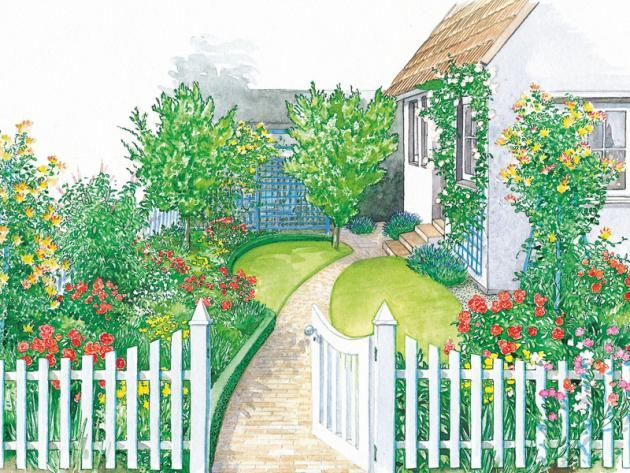 weißer Zaun um Landhausgarten