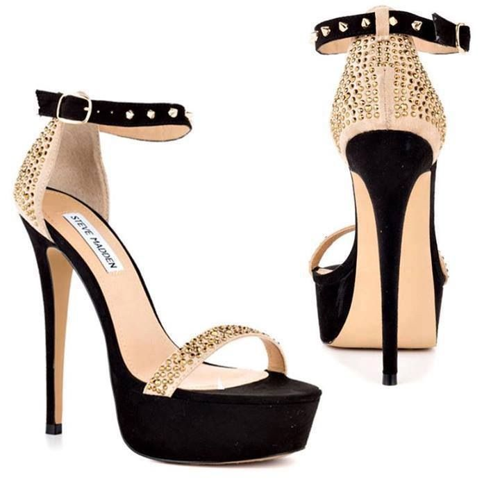 Black Strappy Heels With Gold
