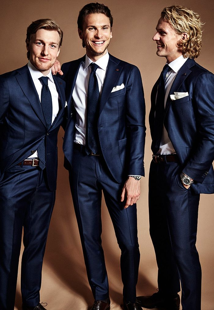 Emil Forsberg, Albin Ekdal och Oscar Hiljemark poserar i Cavalieres nya EM-kostym. Stylade av Julia Stridh.