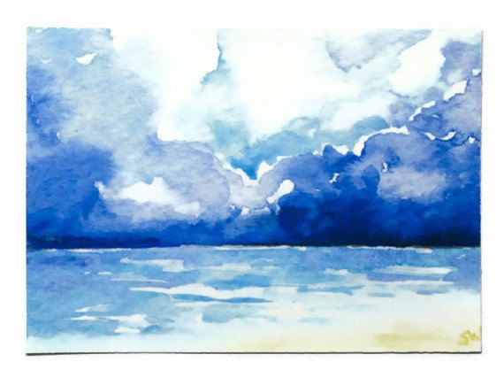 Showcasing the prettiest of blues: Stormy Seascape Watercolor Painting ACEO Archival by SusanWindsor, $5.00