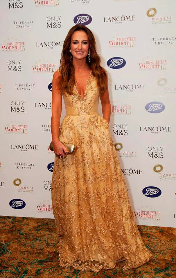 Gold beaded lace gown by Geraldine O'Meara designs worn by Lorraine Keane