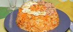 Receita de Pudim de arroz com atum. Descubra como cozinhar Pudim de arroz com atum de maneira prática e deliciosa com a Teleculinaria!