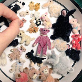 ミニチュアテディベア、アニマル作品。大きさ約1.4cm〜5cm。頭、四肢可動。2016年6月撮影。ミニチュア制作は楽しい! #マーガレットベア #MARGARETBEAR #テディベア #TeddyBear #miniature #dollhouse #ぬいぐるみ #stuffedanimal #kawaii #animal
