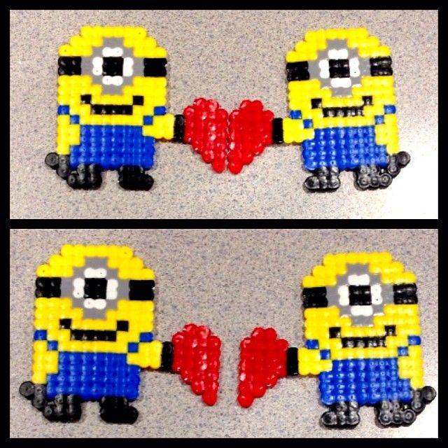 Valentines Day Minions perler beads by sweet_vanilla