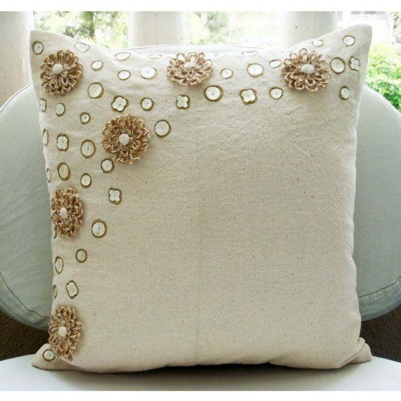 Handmade Ecru Throw Pillows Cover 16x16 Cotton by TheHomeCentric