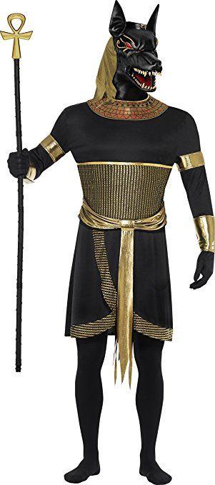 Smiffys, Herren Anubis der Schakal Kostüm, Tunika mit Halskragen, Armbänder, Armmanschetten und Maske