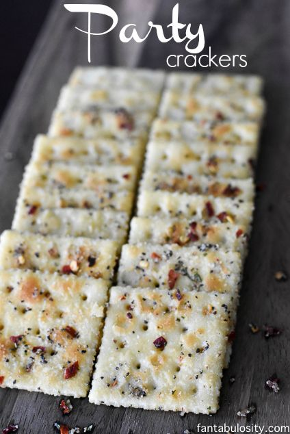 "YUM!!! She calls these ""Party Crackers,"" because they are a perfect snack for a party, or a party in your mouth! Ha! Garlic pepper, ranch seasoning, red pepper flakes, OMG!"