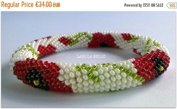 Fall Sale POPPIES flowers flora  seed beaded от LariLaBelle
