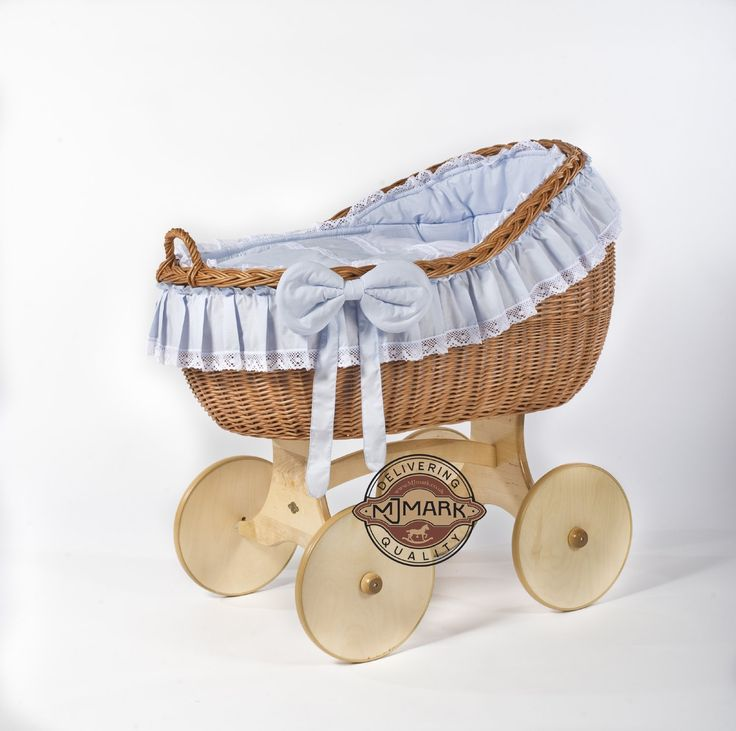 "Brand New Wicker Crib Moses Basket Cot ""Bianca Ant Blue ..."