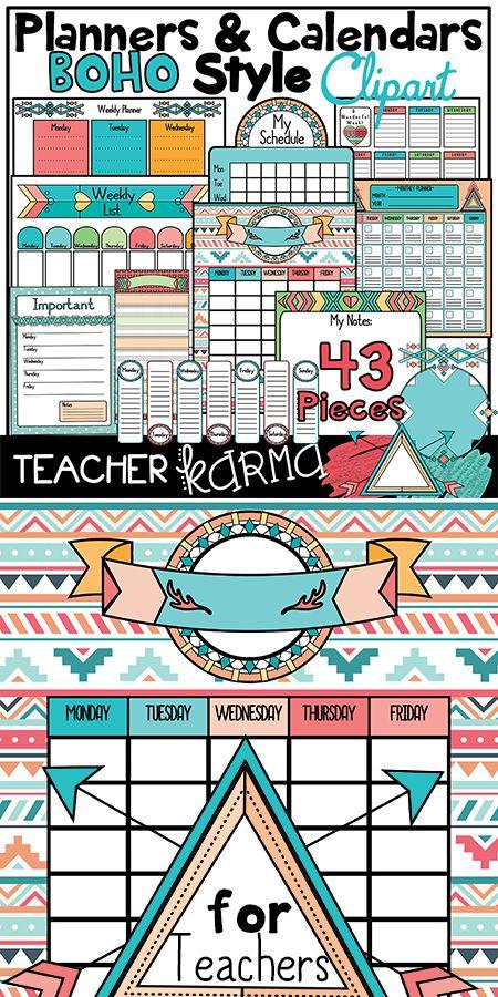 Calendar Clipart For Teachers : Boho planners calendars to do lists clipart kit