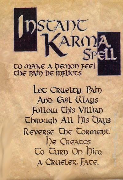 "Book of Shadows:  ""Instant Karma Spell."""