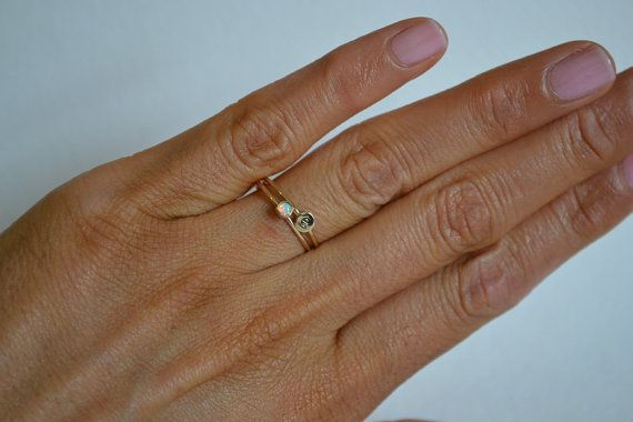 Set of Two Gold Filled Opal Ring Personalized Ring by Fondeur