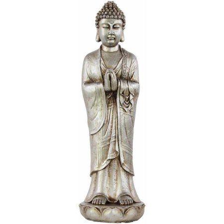 Urban Trends Collection: Resin Buddha Figurine, Glaze Finish, Silver
