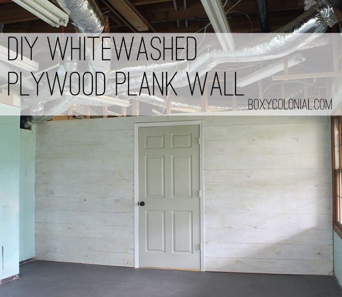 DIY Whitewashed Plank Wall from Plywood
