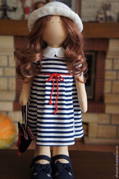 Морячка. - синий,кукла ручной работы,кукла интерьерная,кукла в подарок