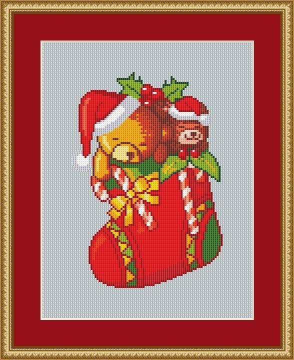 Christmas Stocking Cross Stitch Pattern, Winter Cross