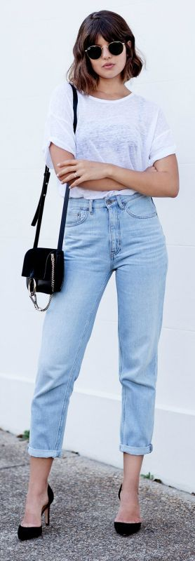 Boyfriend jeans + must this season + Talisa Sutton + glamorous street style + rolled up boyfriend jeans + black stilettos + pair of retro shades + perfect for night or day!  Jeans: MiH, Tshirt: Isabel Marant, Shoes: IRO, Bag: Chloe.