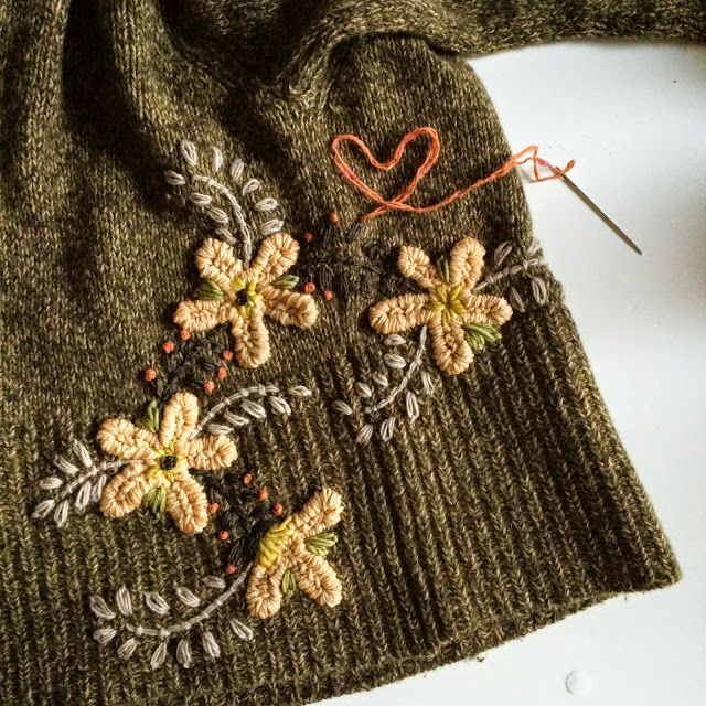 Inspiration for yarn embellishments, embroidered on to knitwear. (image from dottie angel)