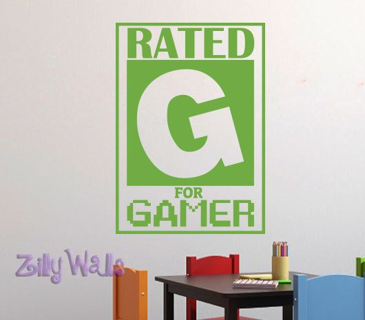 Rated G for Gamer - Video Game Wall Decal-Children room wall art- Vinyl Decal Girls and Boys Nursery Playroom Childrens Decor