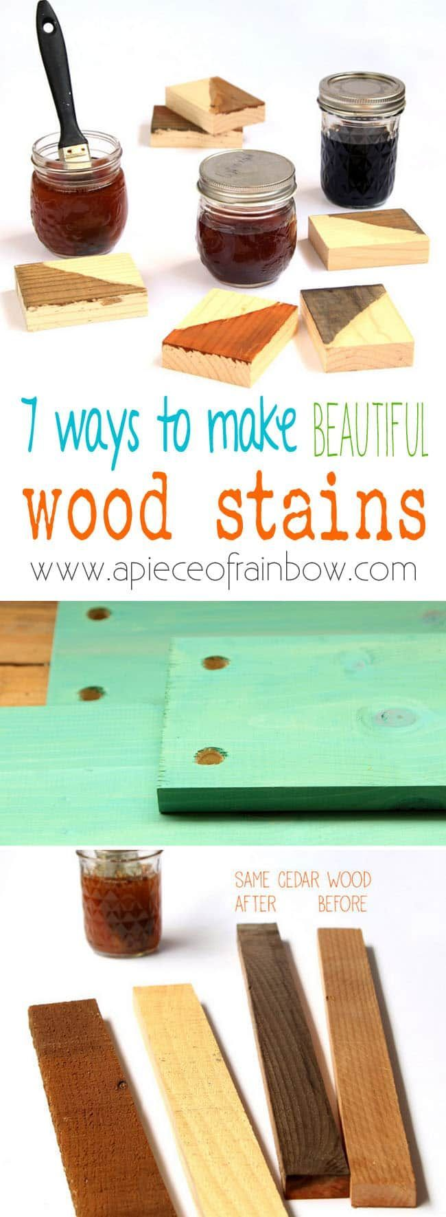 7 ways to make wood stain from natural household materials! These quick & easy DIY wood stains are super effective, long lasting, and low cost!