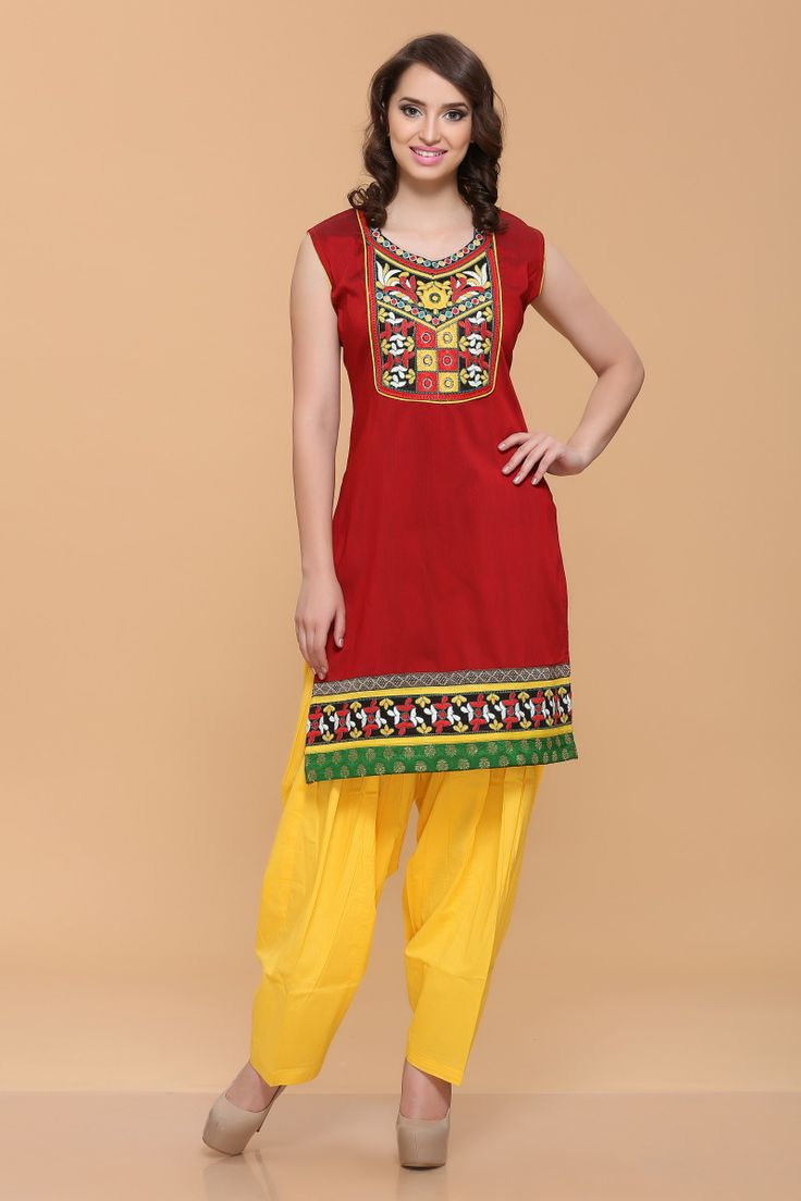 Red Silky Cotton Slub Kurti Design No. 4049  Price  $26.61 Andaaz Fashion new arrival designer kurtis collection like Red Silky Cotton Slub Kurti. This dress is embellished with Resham and Sleeveless Kameez, Knee Length Kameez, Asymmetrical Neck Kameez. This is prefect for Casual and Evening wear. for more Details Visit Here @ http://www.andaazfashion.us/
