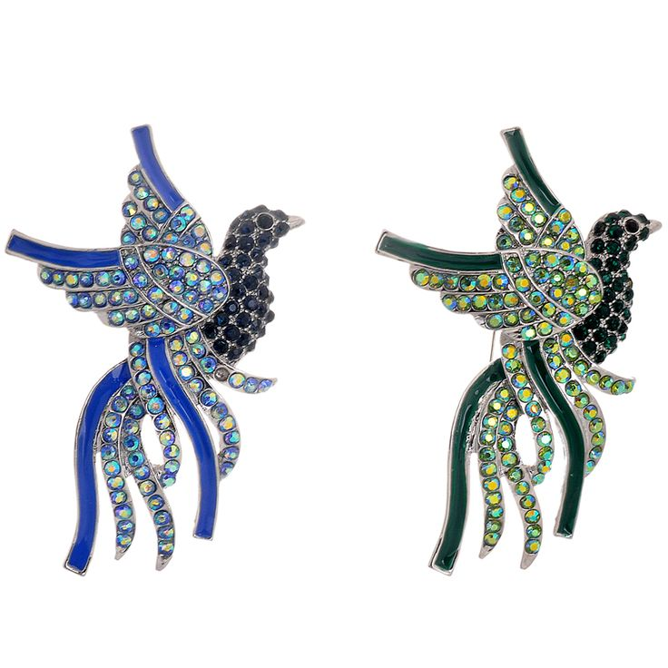 Alloy Oil Drip Bird Brooches New Brand Design Full Crystal Jewelry Retro Animal Brooch for Women Wedding Gift Factory Direct