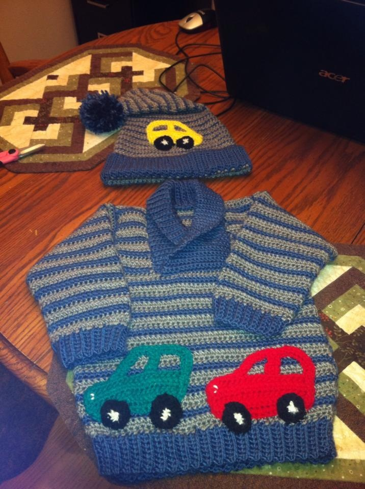 Levi's cars sweater and toque :)