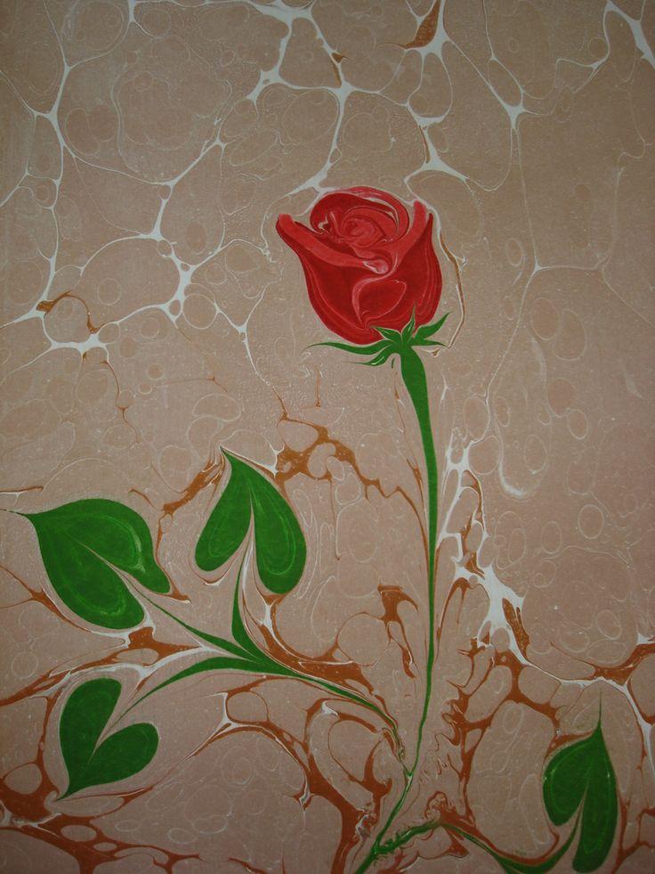 Ebru art .. Rose...
