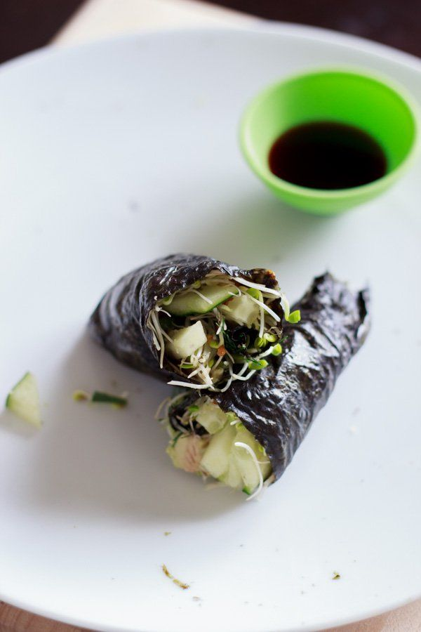 """Vegan friendly """"sushi"""" nori roll with only raw vegetables. Fun to make and to eat!"""
