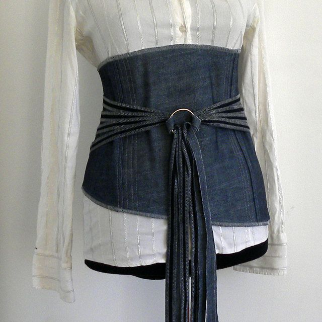 Elegant women belt - corset obi denim clothing for women - Accessories. via Etsy.