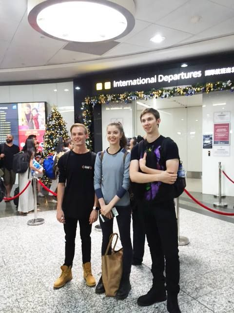 The Australian Ballet School conducts an International Exchange Programme and this year four students have already flown off to Canada's National Ballet School for four weeks. Pictured are Tyson Powell, Elise Foster and Daniel Idaszak waiting to fly out of Melbourne Airport. Joining them in Canada will be Yuumi Yamada. Participation in the Exchange Programme is a valuable experience that will enrich the student's dance training and the future of dance in Australia. More photos to come.