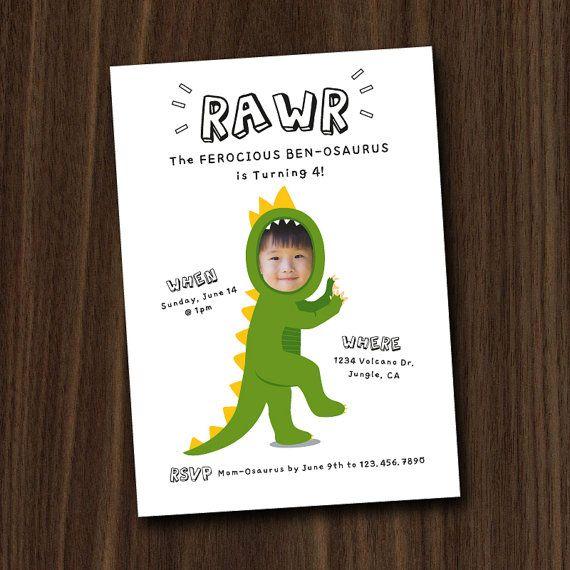 Dinosaur Invite, Dinosaur Invitation Printable, Custom Photo Face Invitation, 5x7 DIY Invitation by MayDetails
