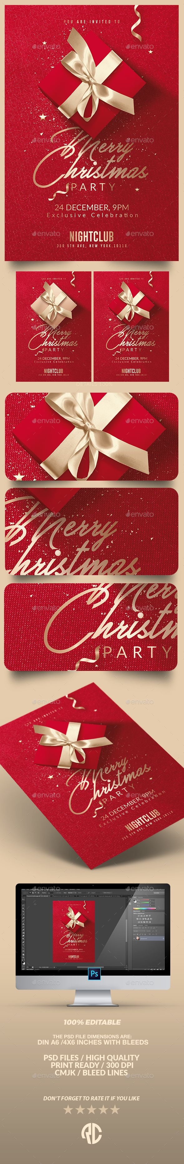 Amazing ! Red Christmas Party | Invitation Flyer Template - Print Templates  #christmas #flyer #invitation #templates #envatomarket