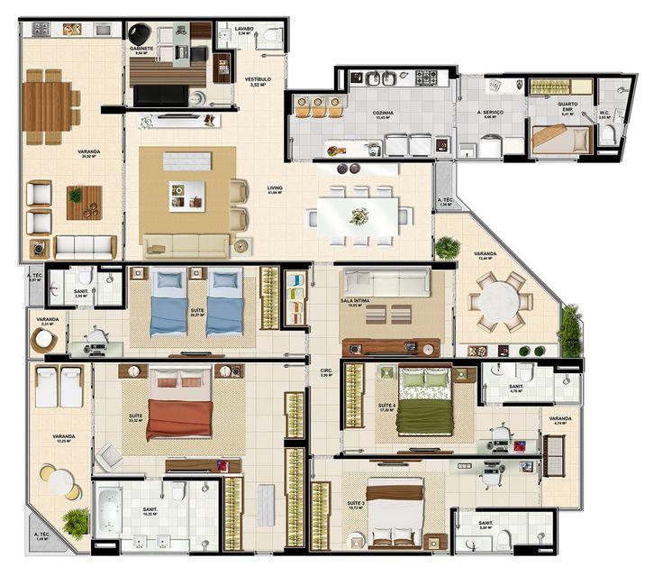 5 modelos de plantas com 5 quartos